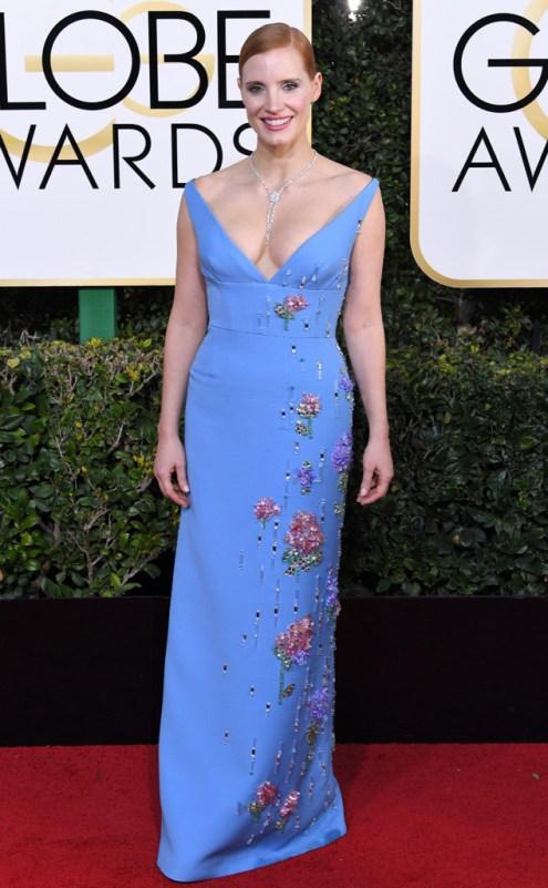 Jessica Chastain Golden Globes Red Carpet Prada