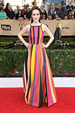 Michelle Dockery Elie Saab gown and jewels from Niwaka and Amanda Pearl