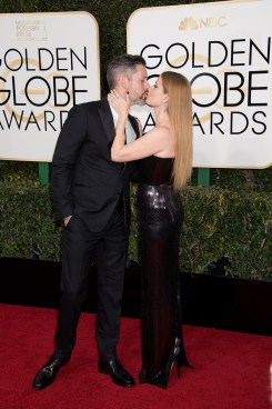 """Darren Le Gallo and nominated for BEST PERFORMANCE BY AN ACTRESS IN A MOTION PICTURE – DRAMA for her role in """"Arrival,"""" actress Amy Adams attends the 74th Annual Golden Globe Awards at the Beverly Hilton in Beverly Hills, CA on Sunday, January 8, 2017."""