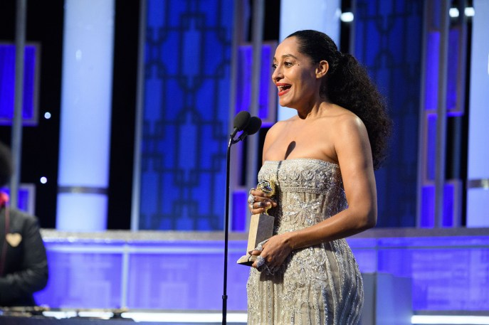 """Tracee Ellis Ross accepts the Golden Globe Award for BEST PERFORMANCE BY AN ACTRESS IN A TELEVISION SERIES – COMEDY OR MUSICAL for her role in """"Black-ish"""" at the 74th Annual Golden Globe Awards at the Beverly Hilton in Beverly Hills, CA on Sunday, January 8, 2017."""