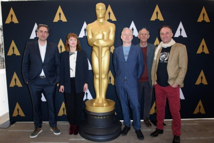 """From left: Director of the Oscar® nominated foreign film """"Land of Mine"""", Martin Zandvliet; director of the Oscar® nominated foreign film """"Toni Erdmann"""", Maren Ade; director of the Oscar® nominated foreign film """"A Man Called Ove"""", Hannes Holm; and directors of the Oscar® nominated foreign film """"Tanna"""", Bentley Dean and Martin Butler during the Academy of Motion Picture Arts and Sciences' Oscar Week: Foreign Language Films event on Saturday, February 25, 2017 at the Samuel Goldwyn Theater in Beverly Hills. The Oscars® will be presented on Sunday, February 26, 2017, at the Dolby Theatre® in Hollywood, CA and televised live by the ABC Television Network."""