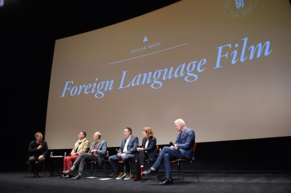 """From left: Host Academy Governor Mark Johnson; directors of the Oscar® nominated foreign film """"Tanna"""", Bentley Dean and Martin Butler; director of the Oscar® nominated foreign film """"Land of Mine"""", Martin Zandvliet; director of the Oscar® nominated foreign film """"Toni Erdmann"""", Maren Ade and director of the Oscar® nominated foreign film """"A Man Called Ove"""", Hannes Holm during the Academy of Motion Picture Arts and Sciences' Oscar Week: Foreign Language Films event on Saturday, February 25, 2017 at the Samuel Goldwyn Theater in Beverly Hills. The Oscars® will be presented on Sunday, February 26, 2017, at the Dolby Theatre® in Hollywood, CA and televised live by the ABC Television Network."""