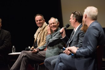 """From left: Directors of the Oscar® nominated foreign film """"Tanna"""", Bentley Dean and Martin Butler; director of the Oscar® nominated foreign film """"Land of Mine"""", Martin Zandvliet; and director of the Oscar® nominated foreign film """"A Man Called Ove"""", Hannes Holm during the Academy of Motion Picture Arts and Sciences' Oscar Week: Foreign Language Films event on Saturday, February 25, 2017 at the Samuel Goldwyn Theater in Beverly Hills. The Oscars® will be presented on Sunday, February 26, 2017, at the Dolby Theatre® in Hollywood, CA and televised live by the ABC Television Network."""