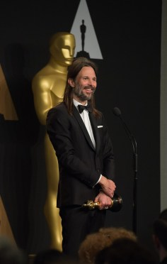 "Linus Sandgren poses backstage with the Oscar® for Achievement in cinematography, for work on ""La La Land"" during the live ABC Telecast of The 89th Oscars® at the Dolby® Theatre in Hollywood, CA on Sunday, February 26, 2017."