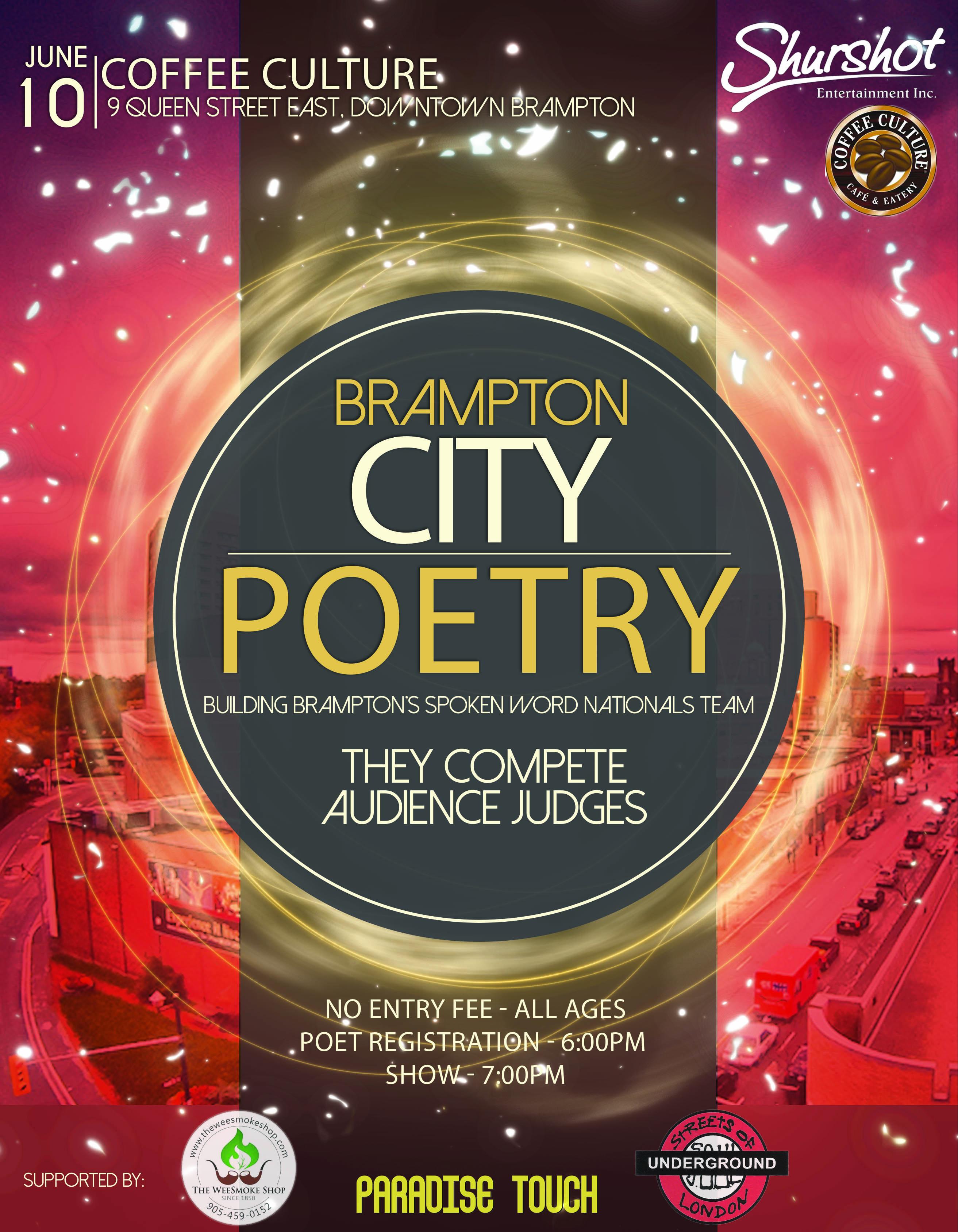Brampton City Poetry - Spoken Word Slam - 4 Corners Brampton