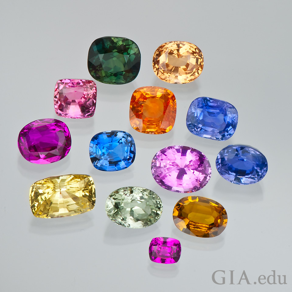 Sapphires in a range of colors