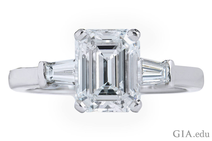 Hungry for a Baguette Diamond Engagement Ring  A 2 01 ct E color emerald cut diamond flanked by two tapered baguette  diamond accents