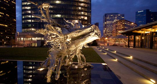 Dan Corson, Root, Bronze, specialty paint, and nurse tree, Bellevue City Hall, © 2008 Spike Mafford
