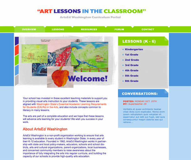 Art Lessons in the Classroom Portal Home Page, ArtsEd Washington