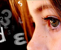 Child with dyslexia concept art illustrating just one instance of cognitive disabilities. Closeup of young eyes looking at floating letters and numbers in different configurations.