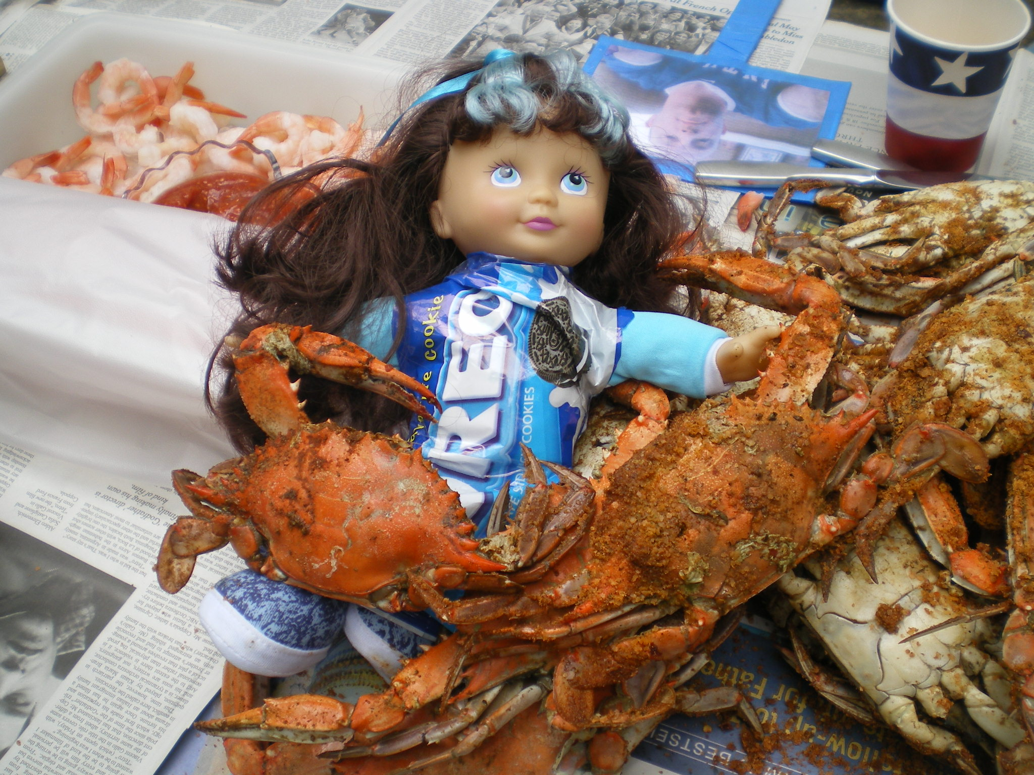 enjoying East coast crabs and shrimp...