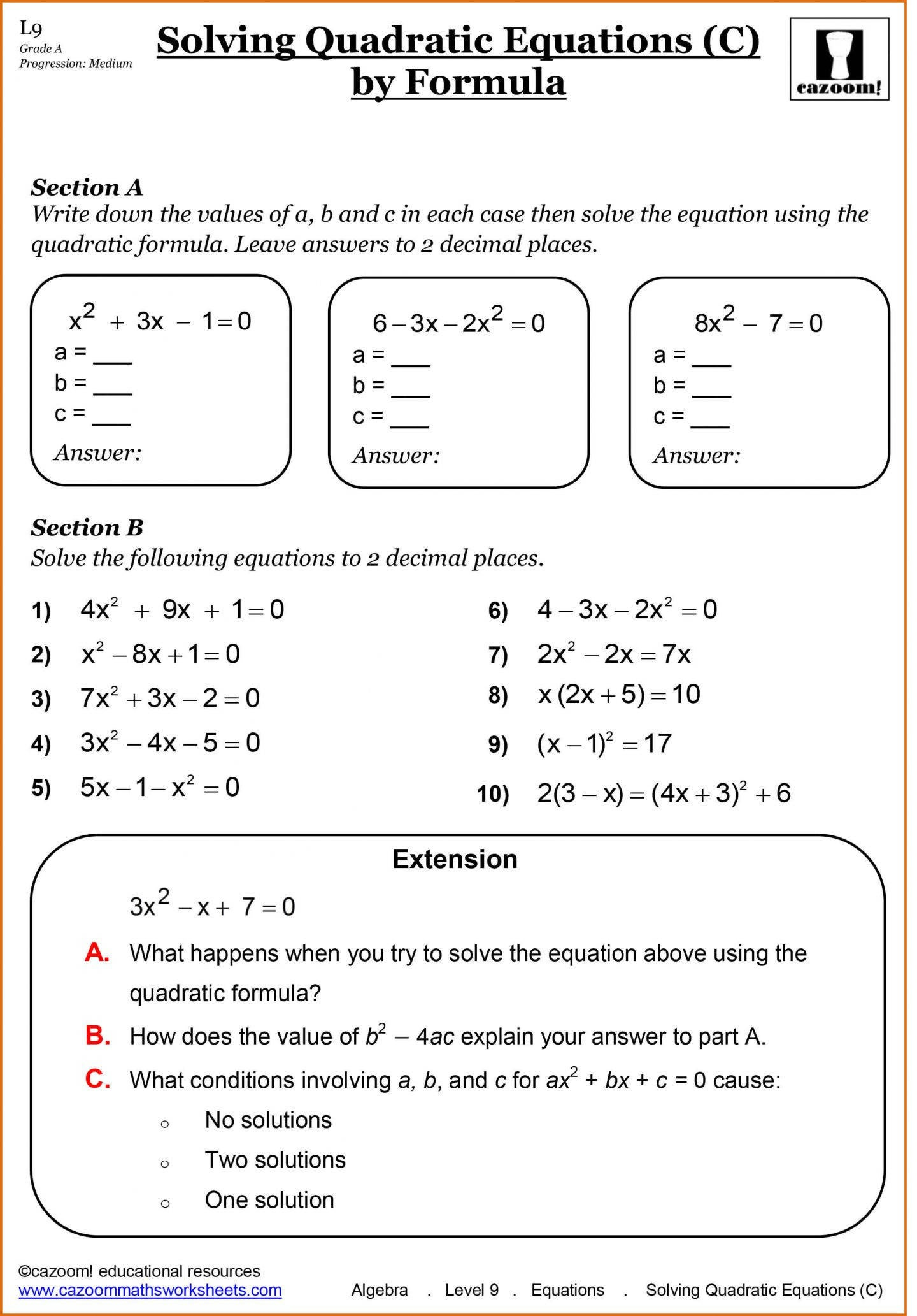 9th Grade Algebra Worksheets Free Printable