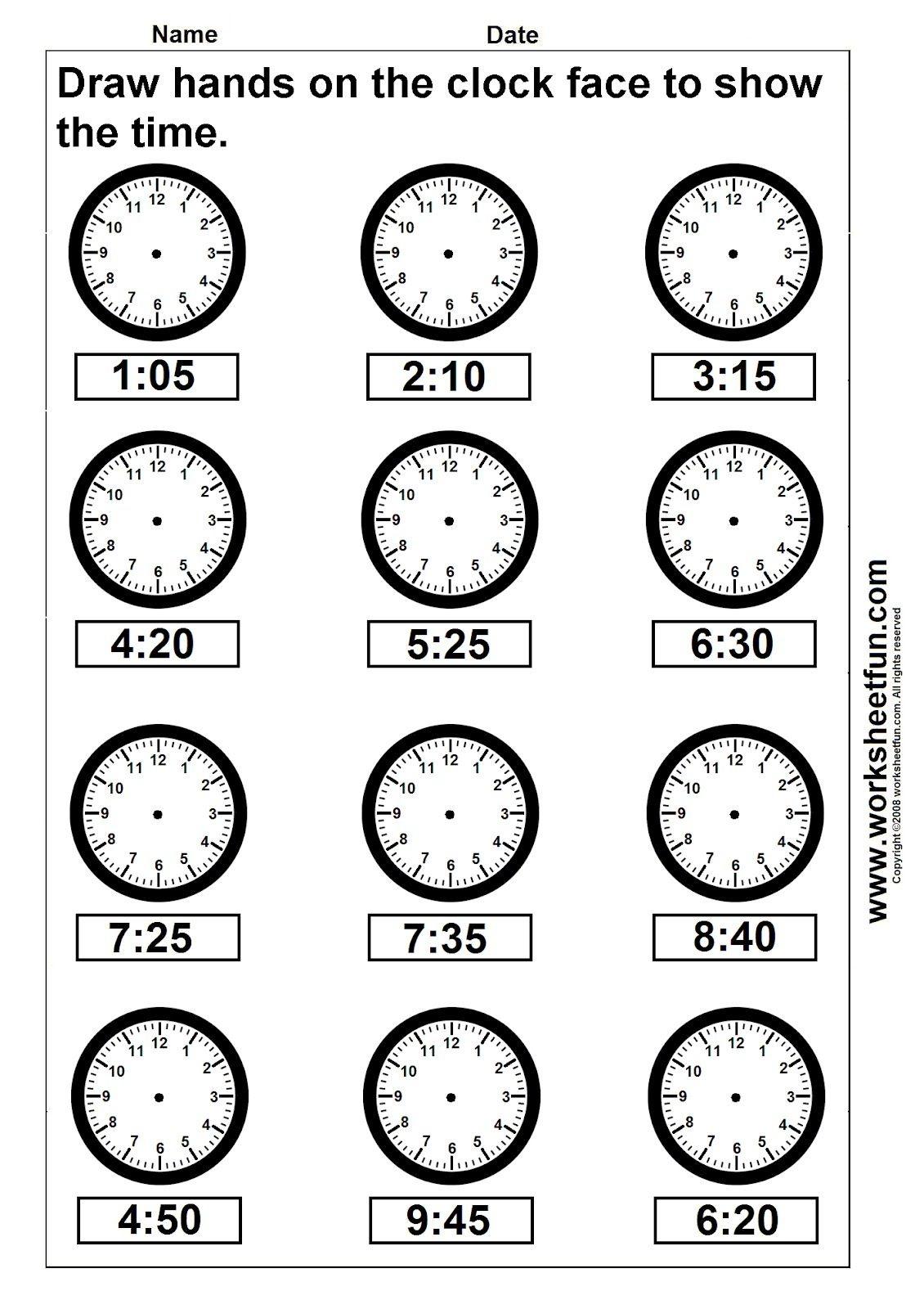 Free Printable Time Worksheets For Kindergarten