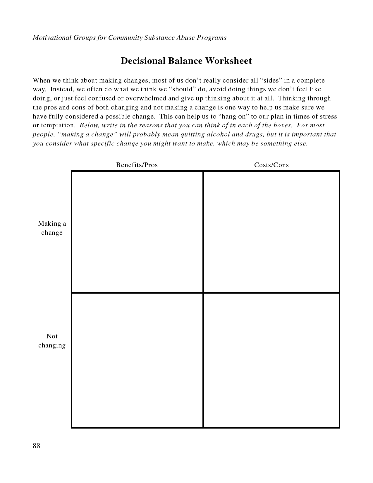Self Improvement Worksheet