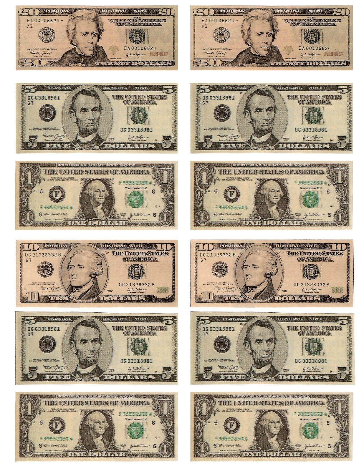 Printable Dollar Bills