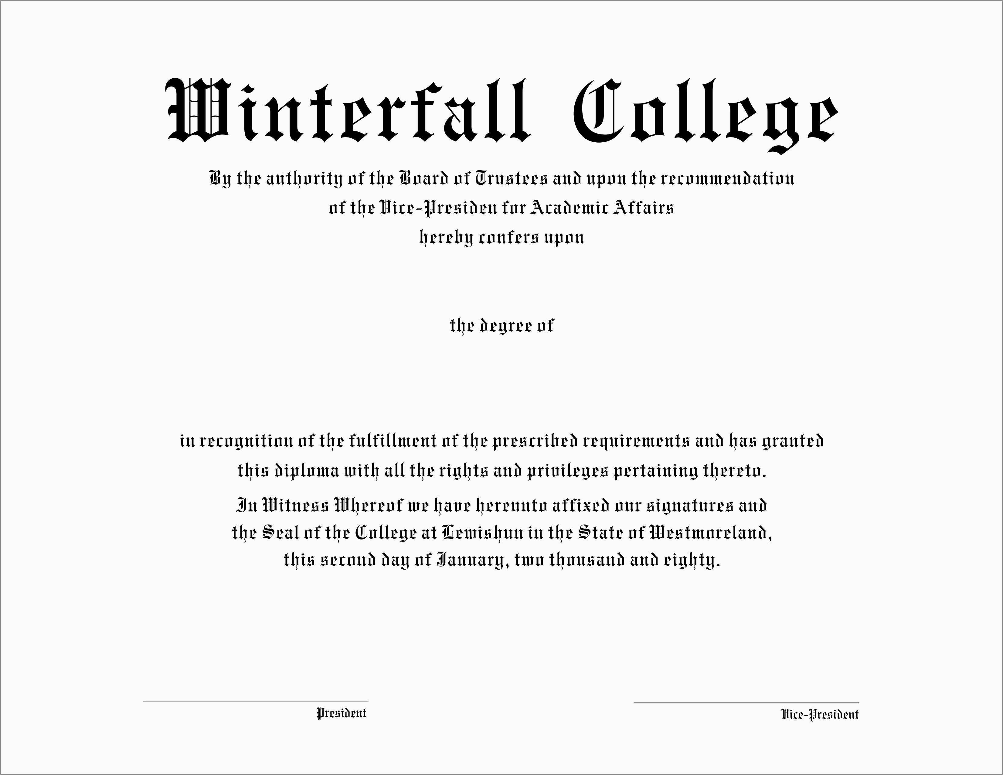Free Printable College Degrees
