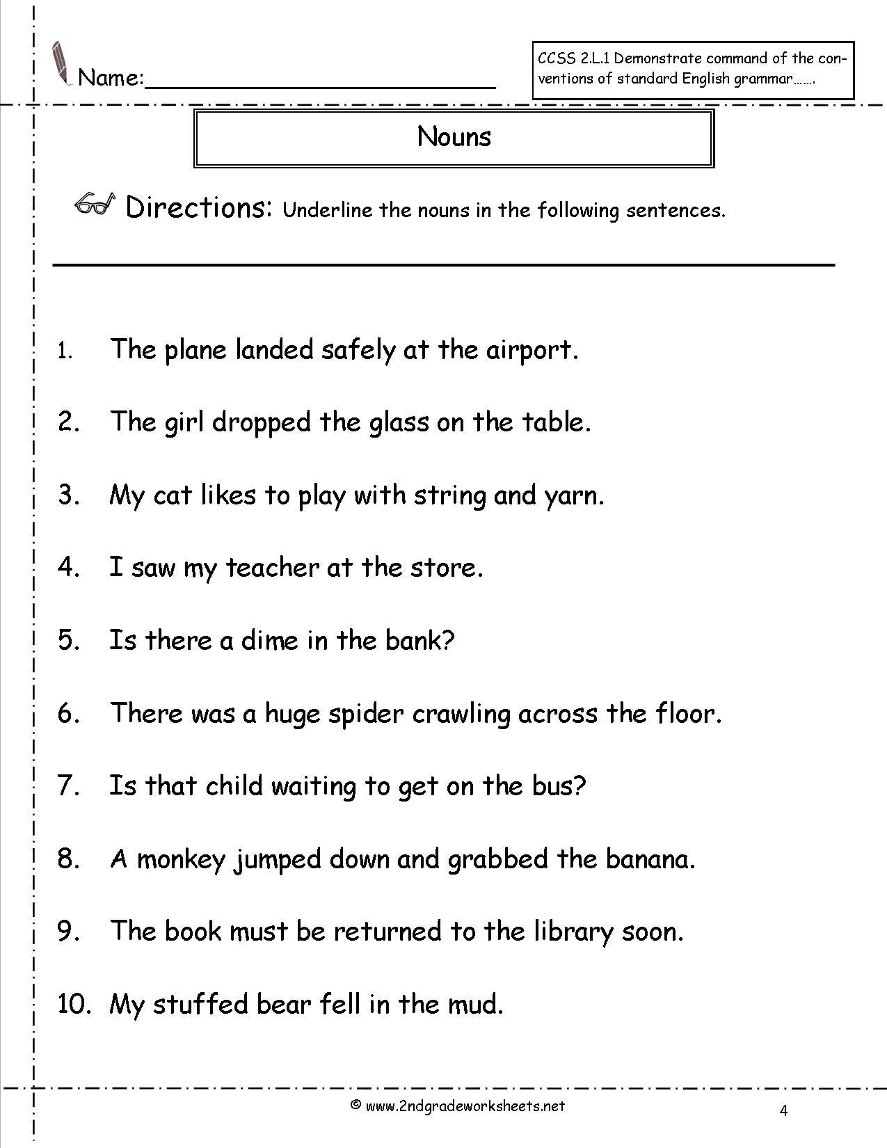 Free Printable Pronoun Worksheets For 2nd Grade