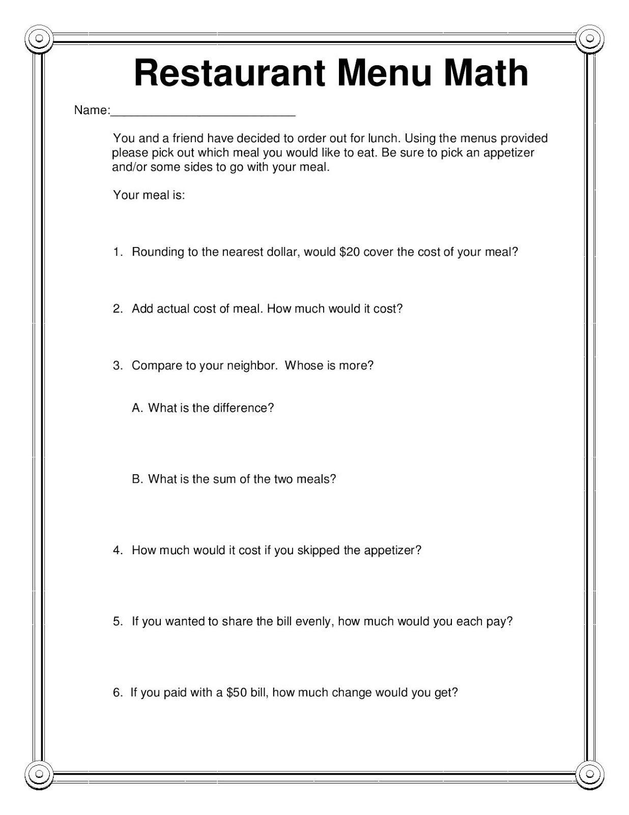 Free Printable Menu Math Worksheets
