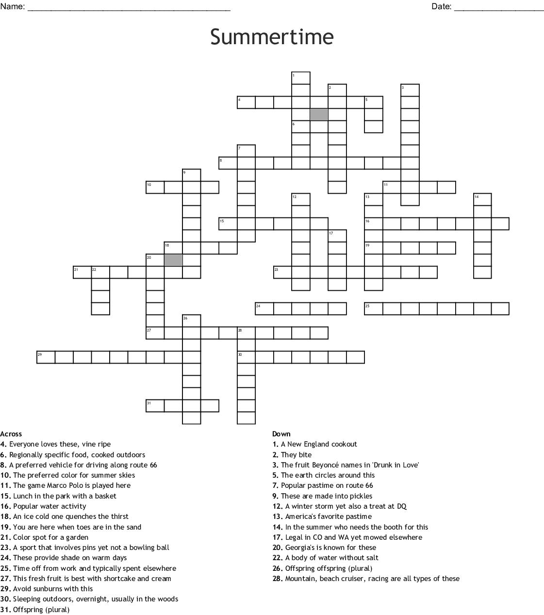Summer Crossword Puzzle Free Printable