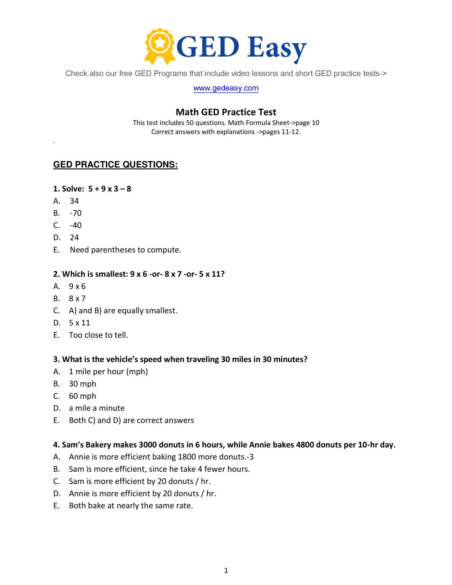 Ged Math Preparation Ged Practice Questions
