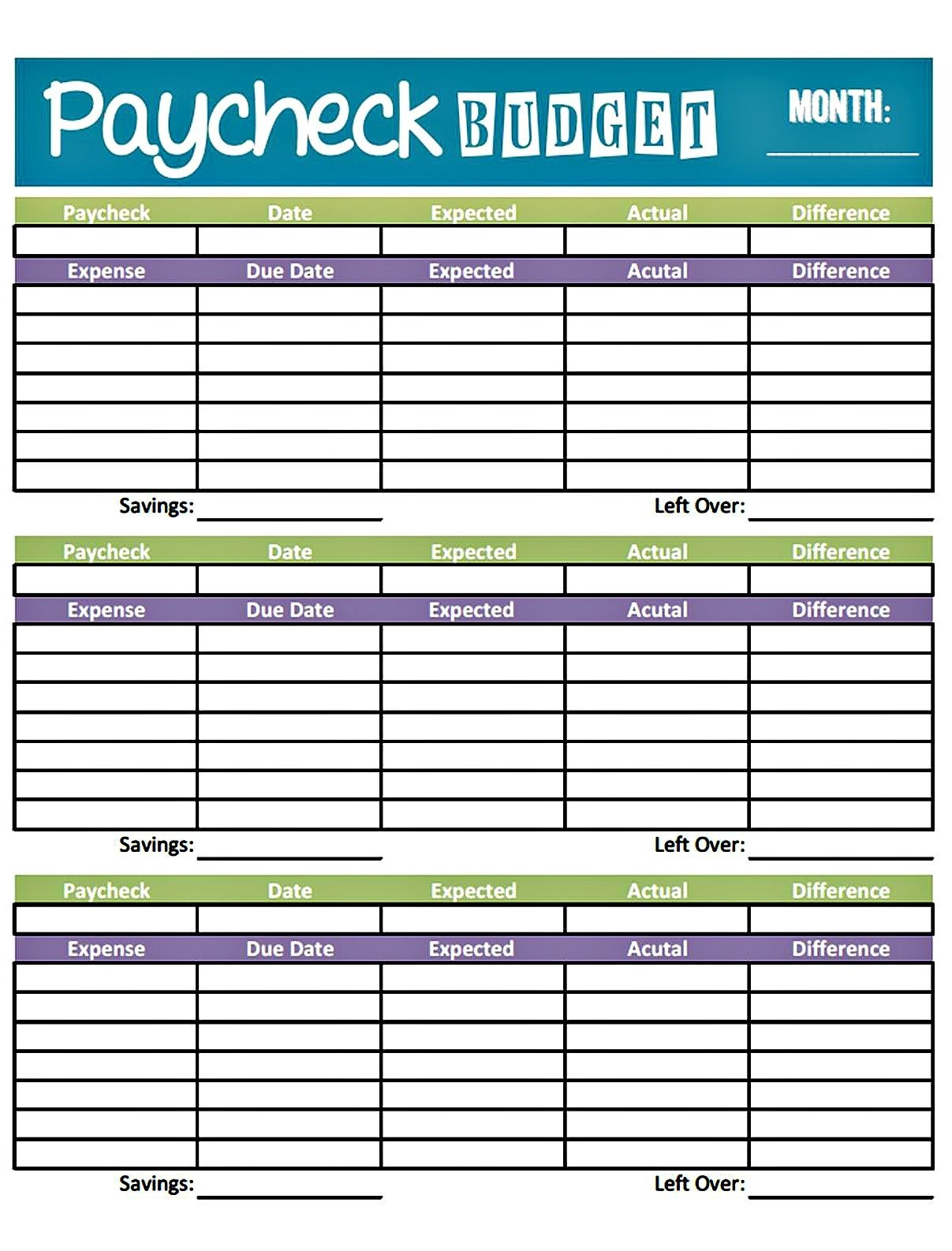 Free Printable Bi Weekly Budget Template