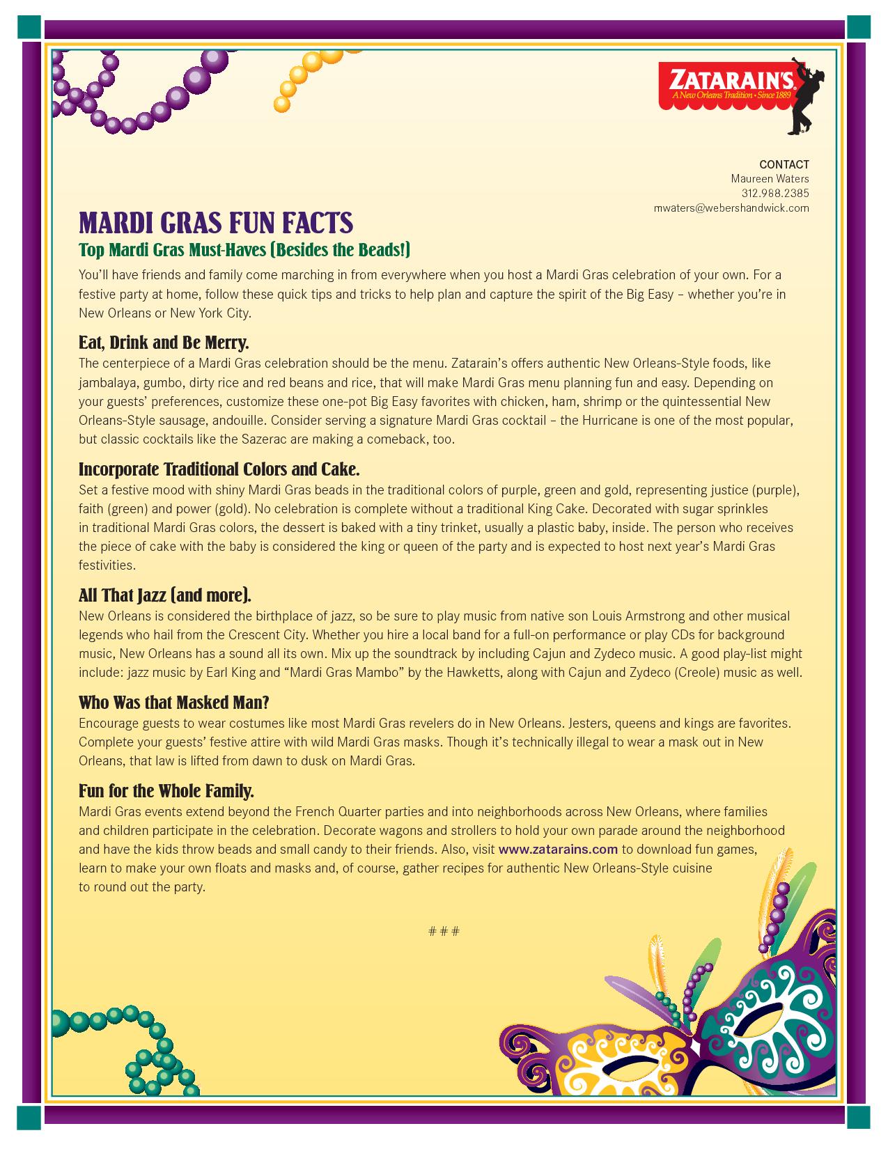 Free Printable Mardi Gras Games