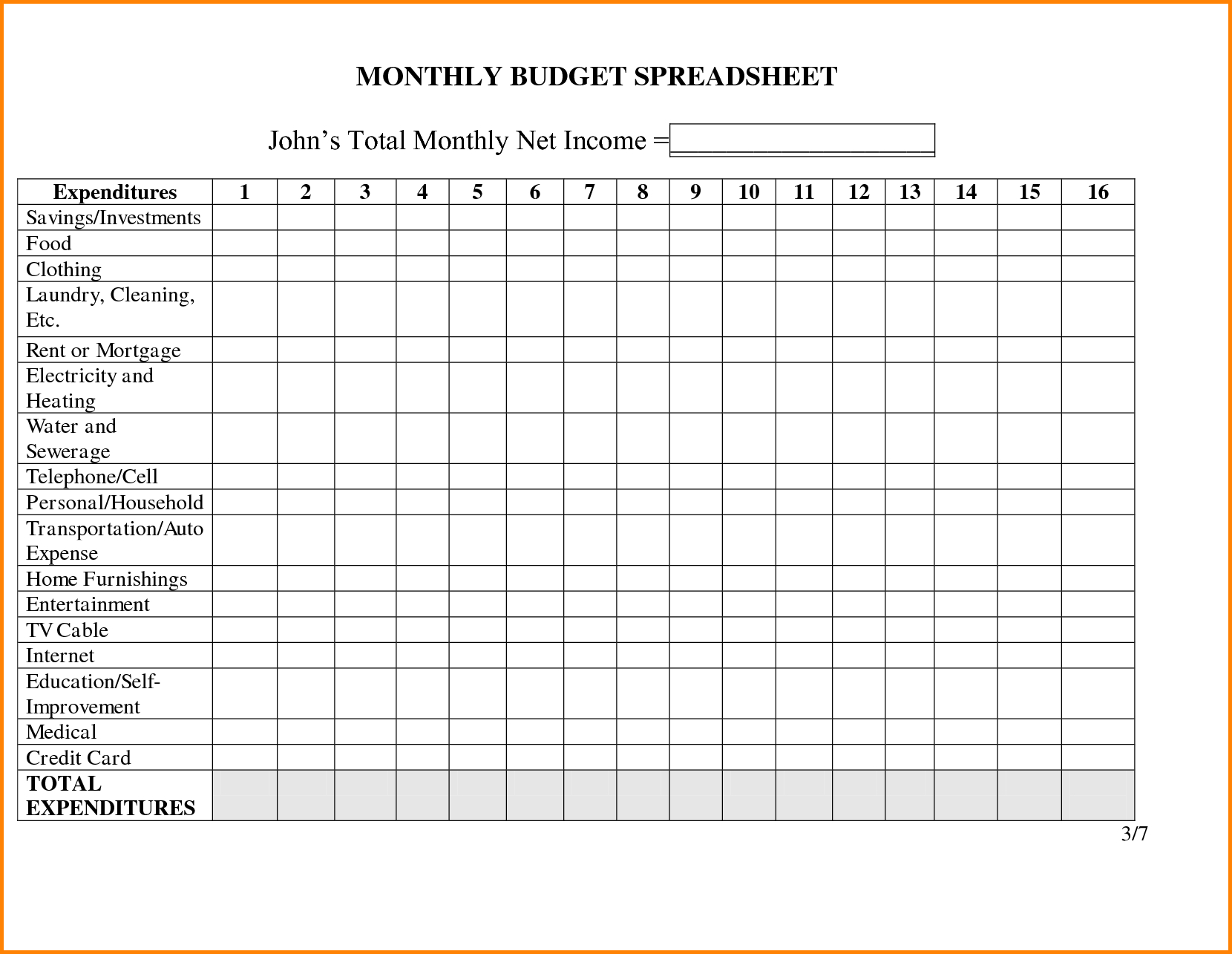Monthly Household Budget Adsheet Family Template Worksheet