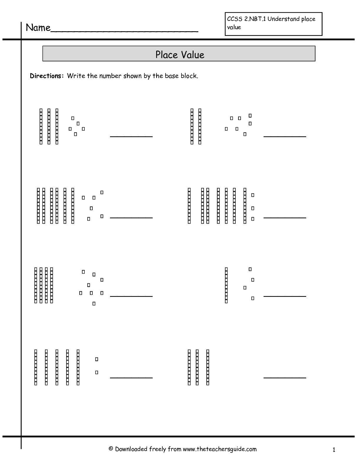 Free Printable Base Ten Block Worksheets
