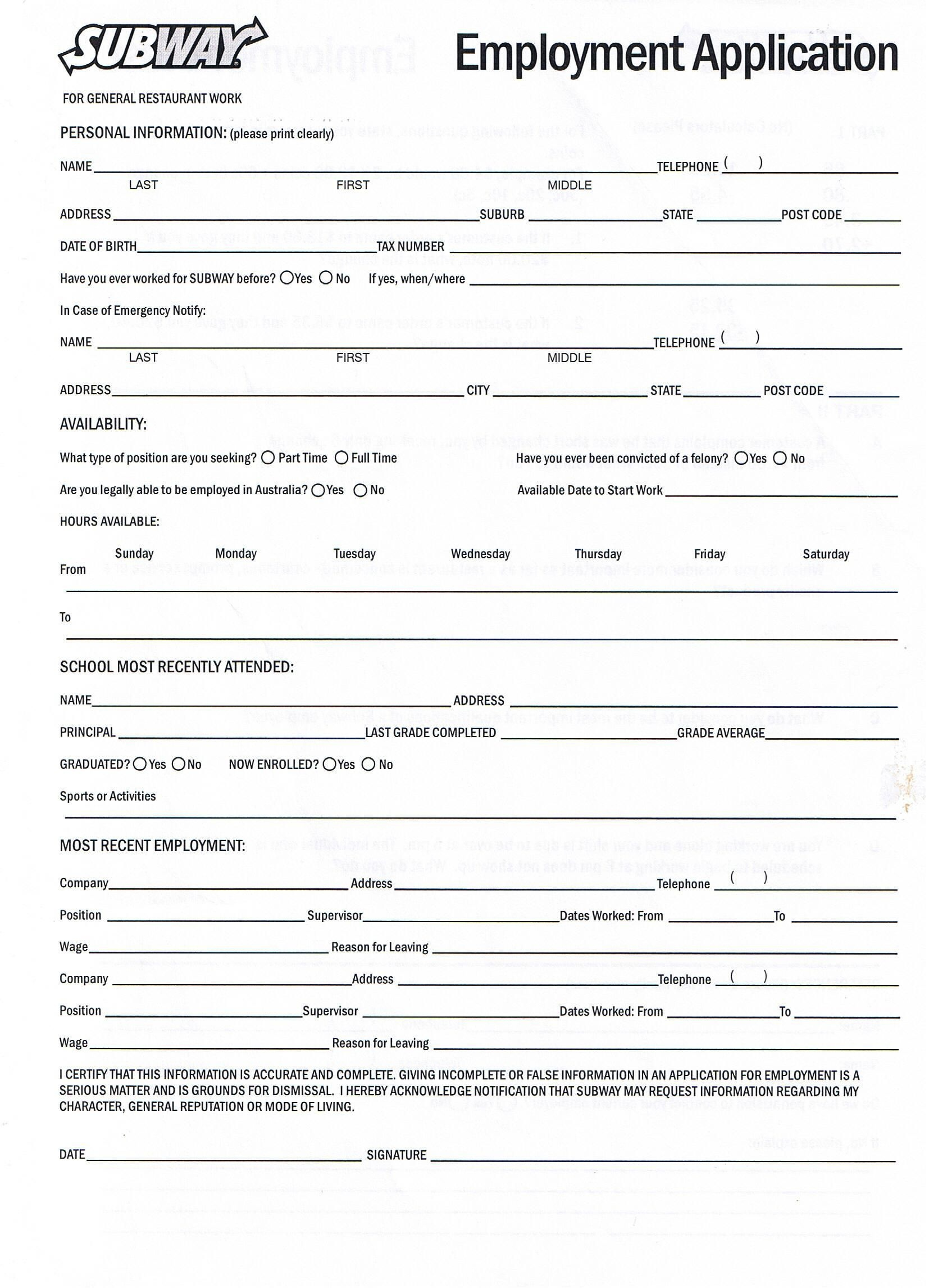 Application For Employment Form Free Printable