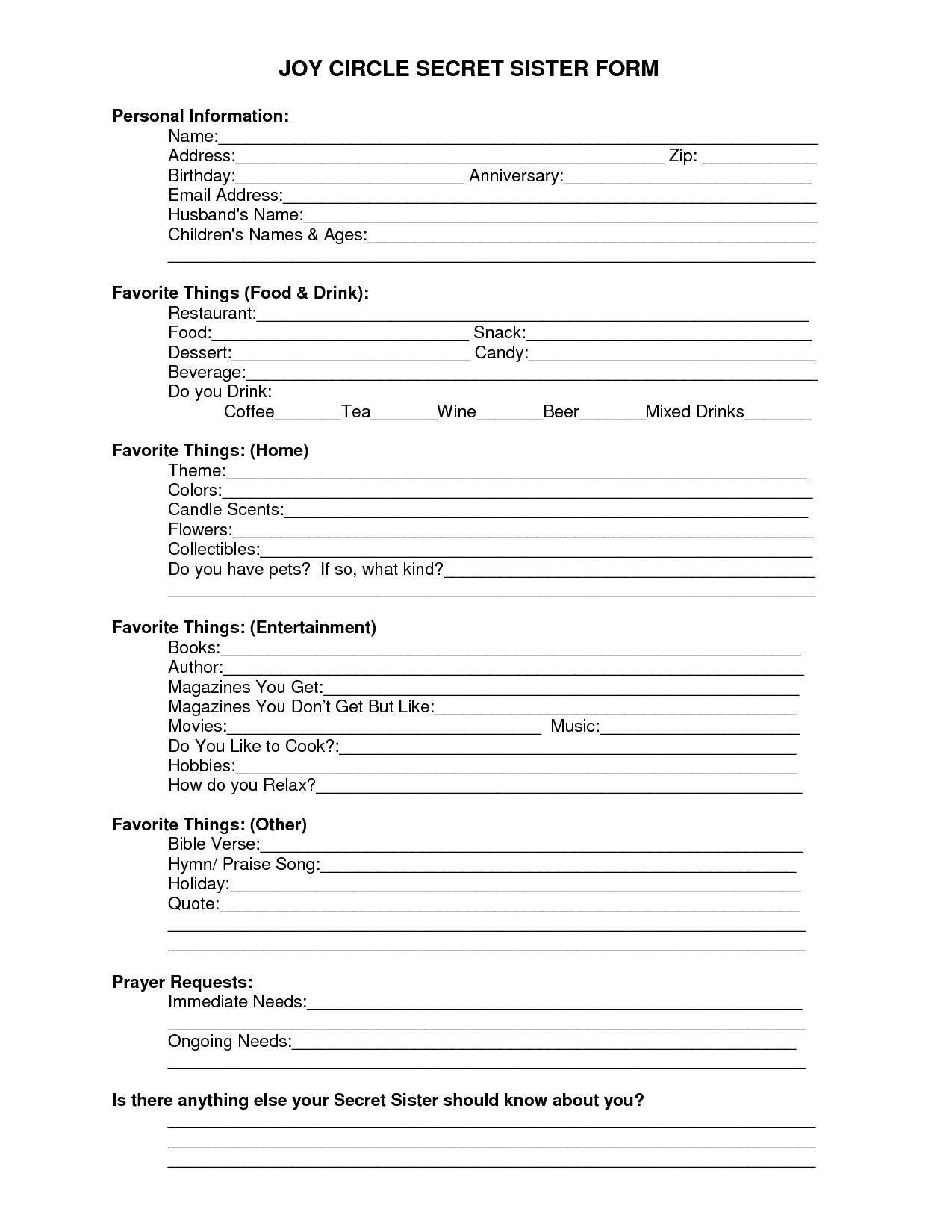 Free Printable Secret Pal Forms