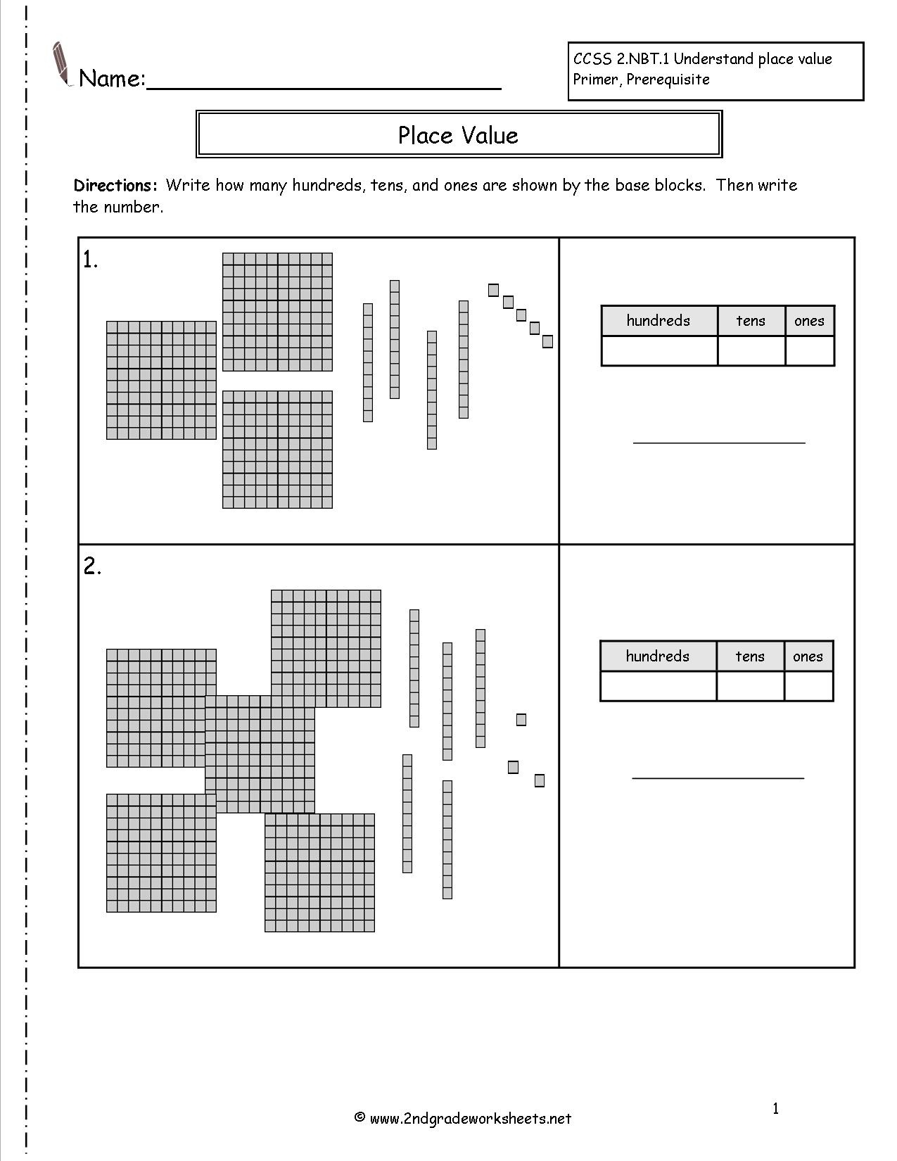 Free Printable Base Ten Block Worksheets