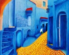 """Blue Morocco"" Oils on canvas 24""H x 30""W x 1.5""D"