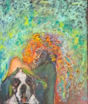 """""""Daisy"""" Oils on canvas 52"""" H x 44"""" W x 1.5"""" D"""