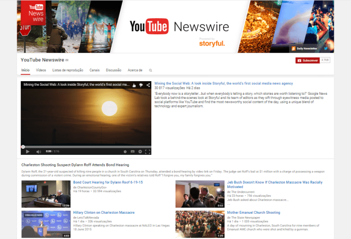 YouTube Newswire page