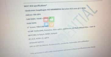 Lumia 850 specs