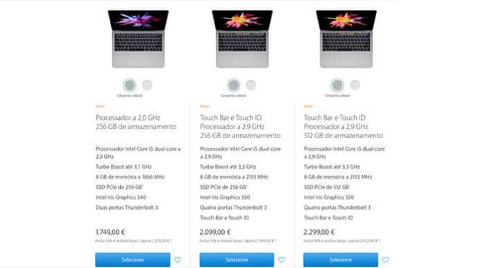 """Preços Macbook Pro 13"""""""