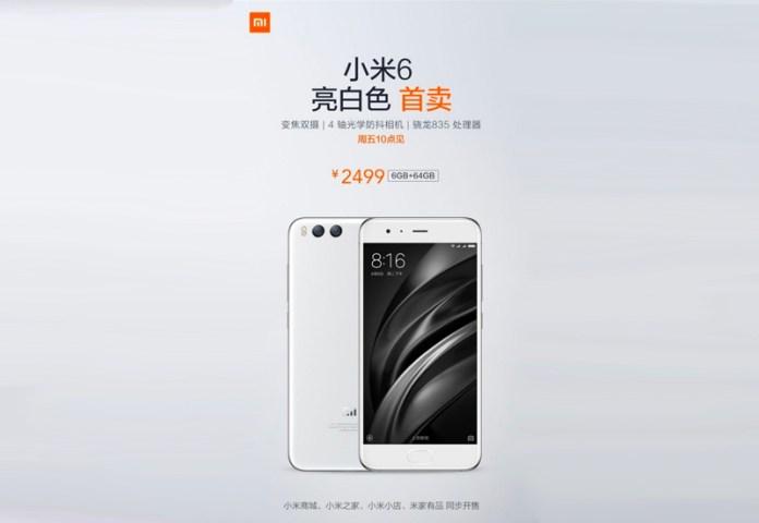 Este é o novo Xiaomi Mi 6 em branco