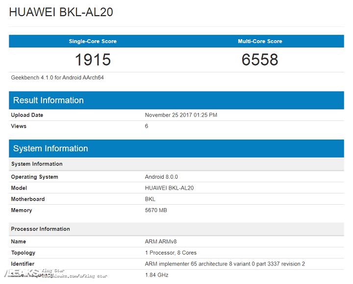 Honor V10 aparece no Geekbench como Huawei BKL-AL20