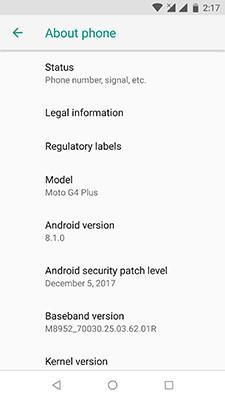 Android Oreo 8.1 Motorola Moto G4 Plus