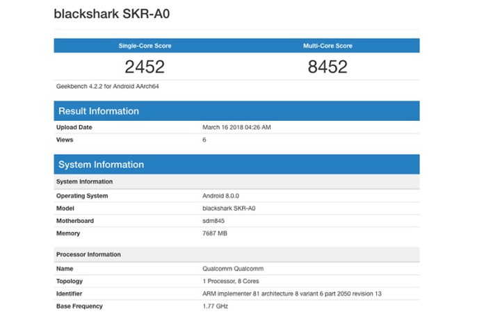 Xiaomi Blackshark SKR-A0 Geekbench Android smartphone