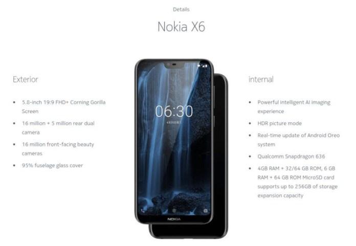 Lenovo Z5 Nokia X6 Android Oreo 8.1