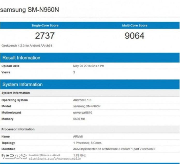 Samsung Galaxy Note 9 Android Oreo 8.1 Exynos