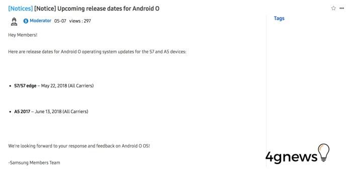 Samsung Galaxy S7 edge Android Oreo
