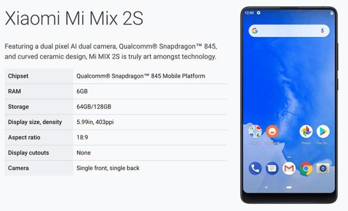 Xiaomi Mi MIX 2S Android P Nokia 7 Plus Google
