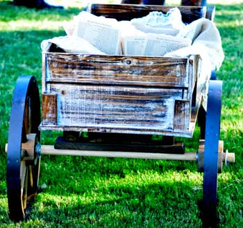 Wagon hold wedding programs
