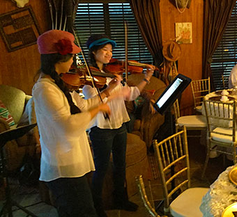 The Two Belles performing at a birthday party near Decatur, TX.