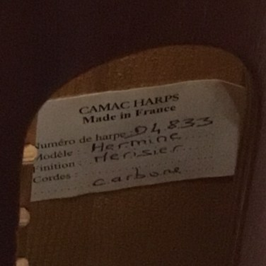 Camac Harp from France for Sale Serial Card