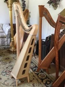 Birds Eye Maple Princessa Harp from Side for Sale