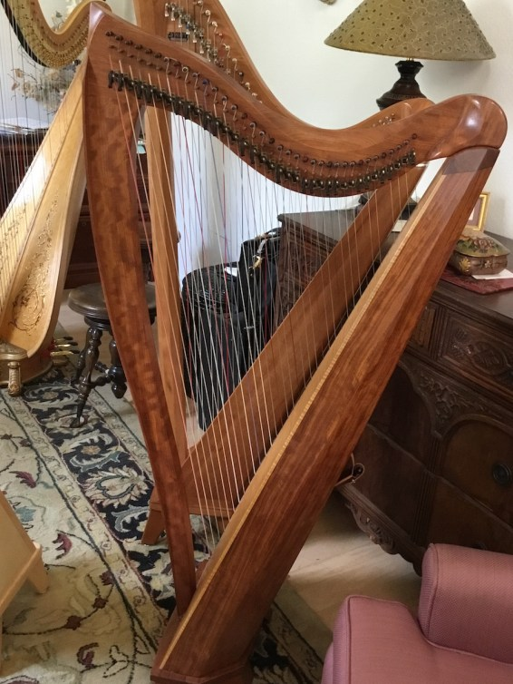 Dusty Strings harp from back