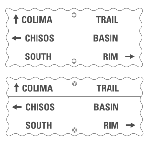 The proximity between unrelated words (e.g., Chisos and South) on this rendering of a sign at Big Bend National Park lends itself to misinterpretation. Grouping the related words in a common region would be a simple way to correct the sign.